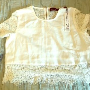 White Lace Crop Top from MINKPINk